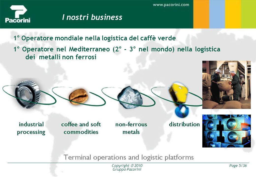 I nostri business 1° Operatore mondiale nella logistica del caffè verde.