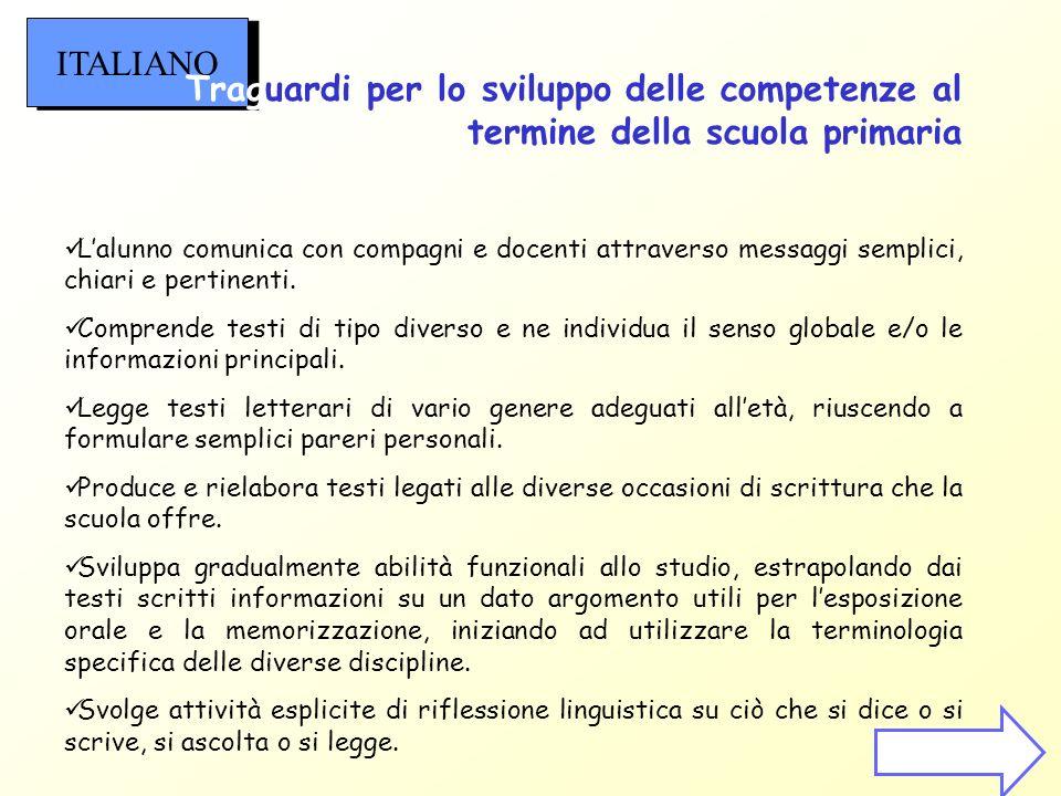 ITALIANO Traguardi per lo sviluppo delle competenze al termine della scuola primaria.