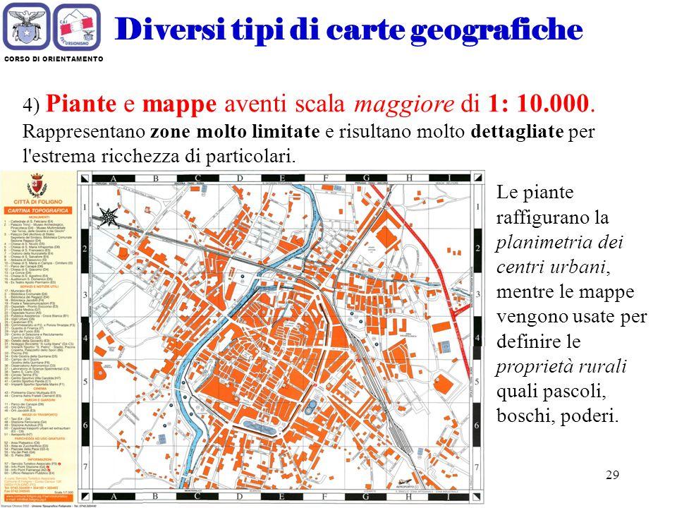 Diversi tipi di carte geografiche