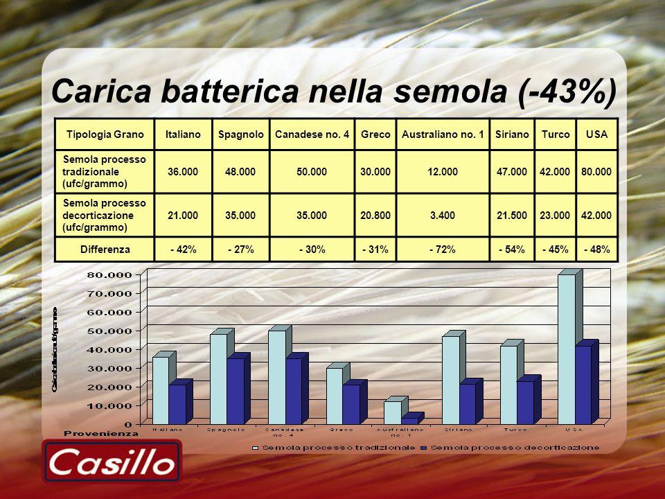 Carica batterica nella semola (-43%)