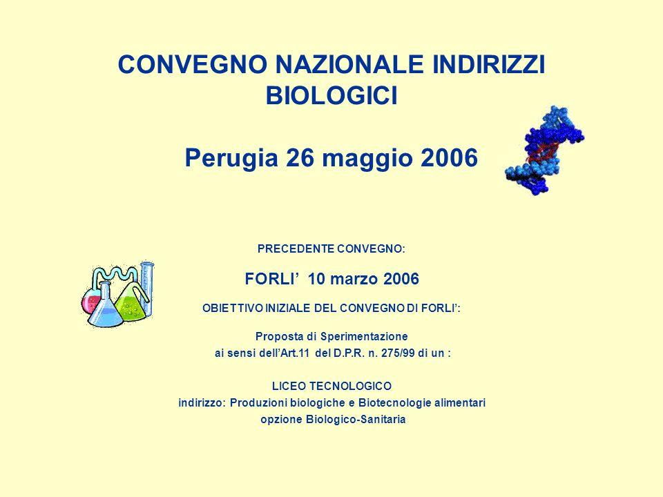 CONVEGNO NAZIONALE INDIRIZZI BIOLOGICI Perugia 26 maggio 2006