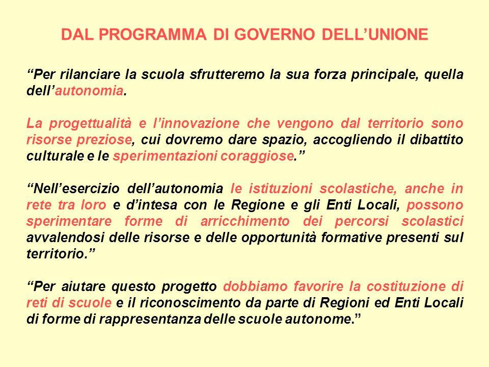 DAL PROGRAMMA DI GOVERNO DELL'UNIONE