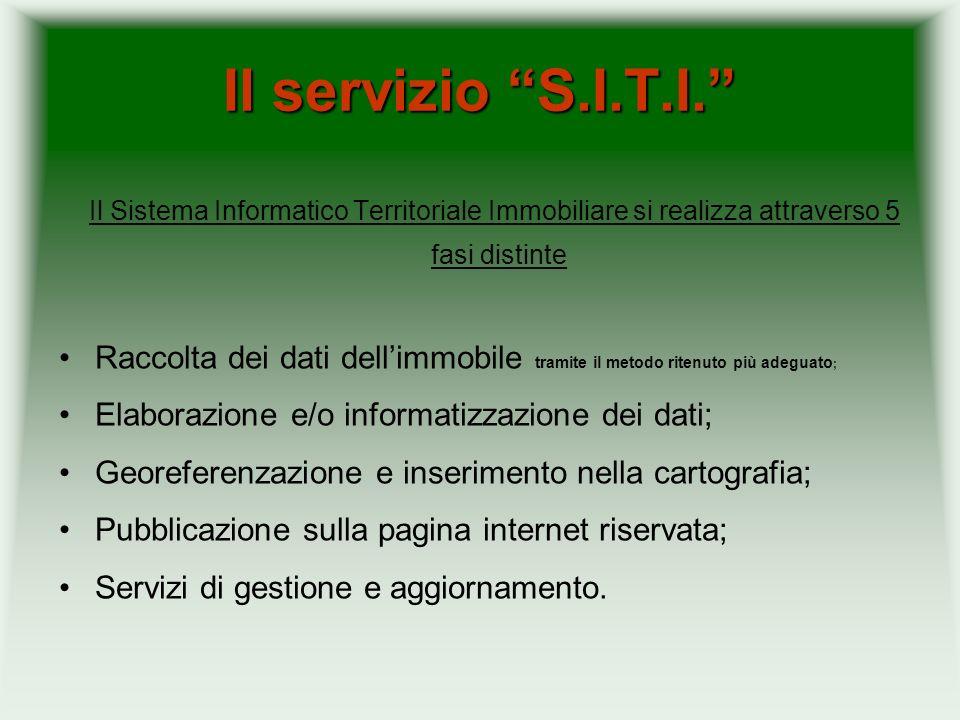 Il servizio S.I.T.I. Il Sistema Informatico Territoriale Immobiliare si realizza attraverso 5 fasi distinte.