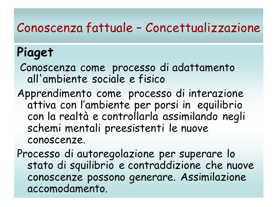 Conoscenza fattuale – Concettualizzazione