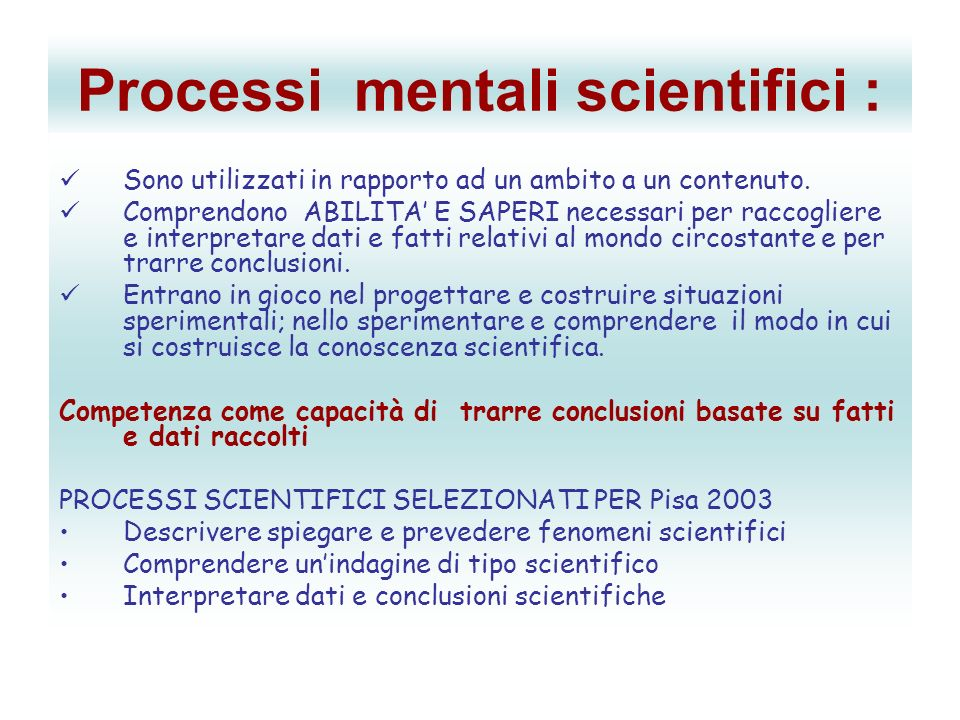 Processi mentali scientifici :
