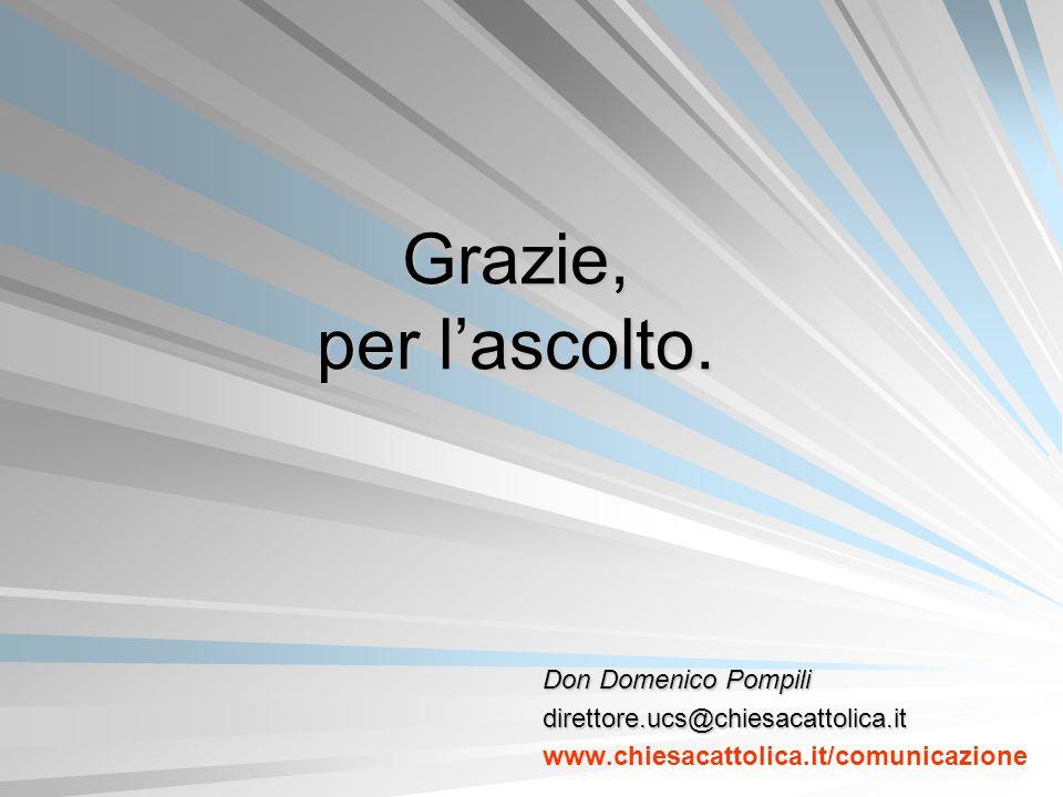 Grazie, per l'ascolto. Don Domenico Pompili