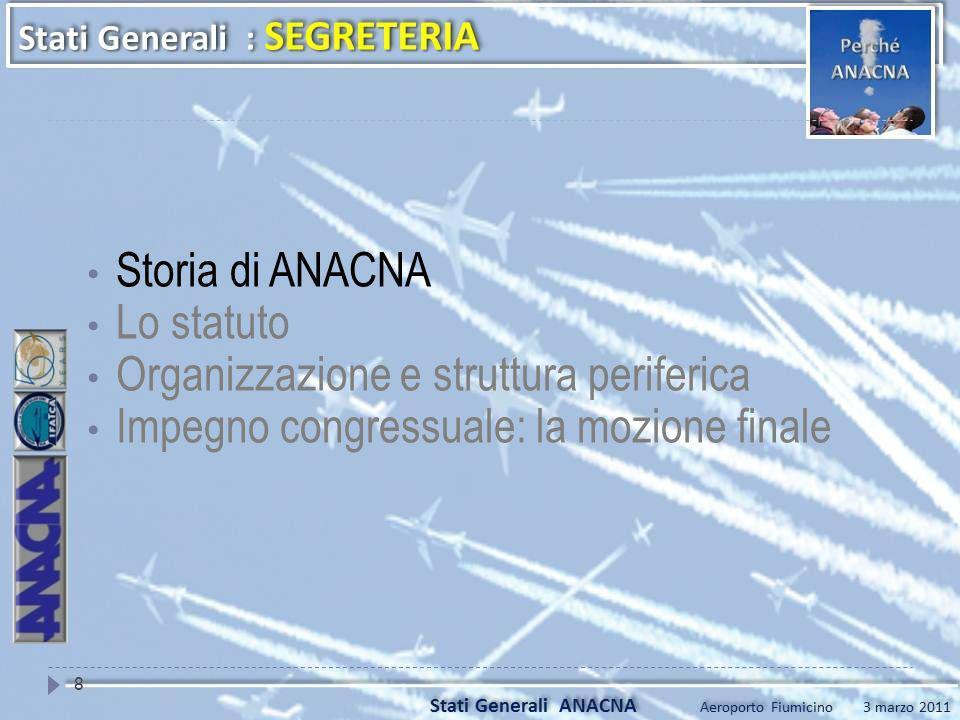 Storia di ANACNA Lo statuto. Organizzazione e struttura periferica.