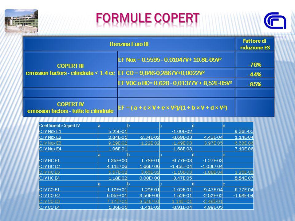 Formule COPERT Fattore di riduzione E3 Benzina Euro III -76%