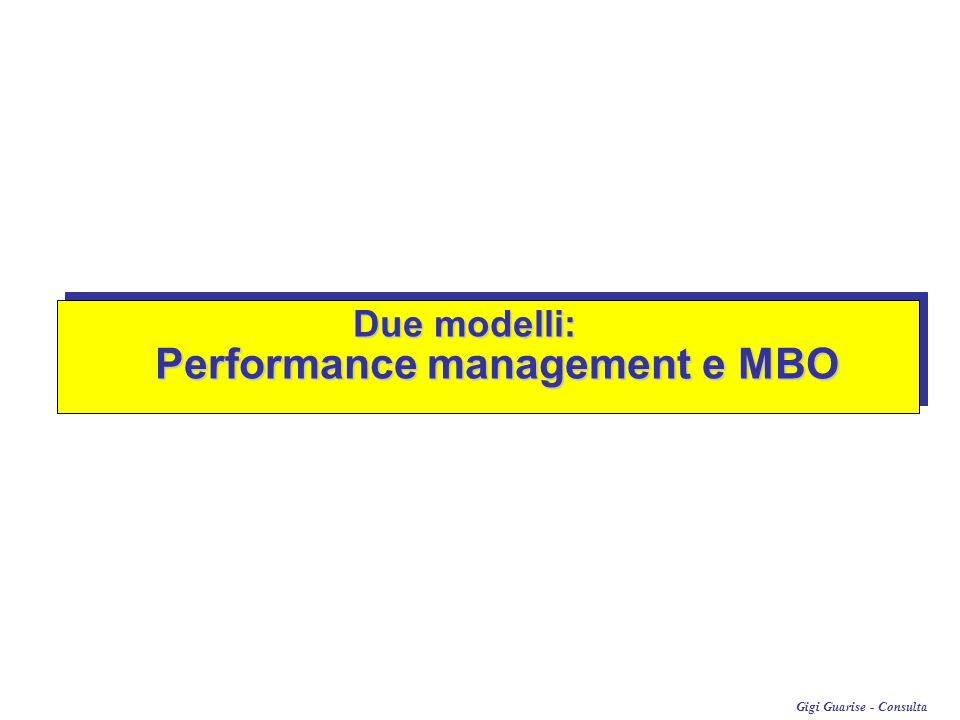 Performance management e MBO