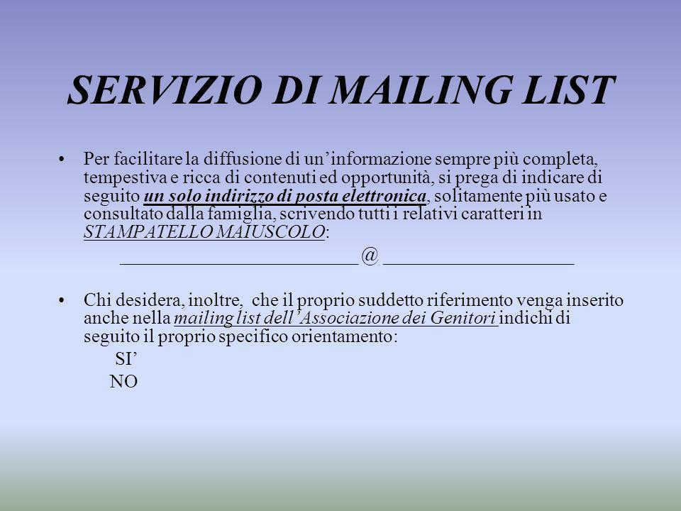 SERVIZIO DI MAILING LIST