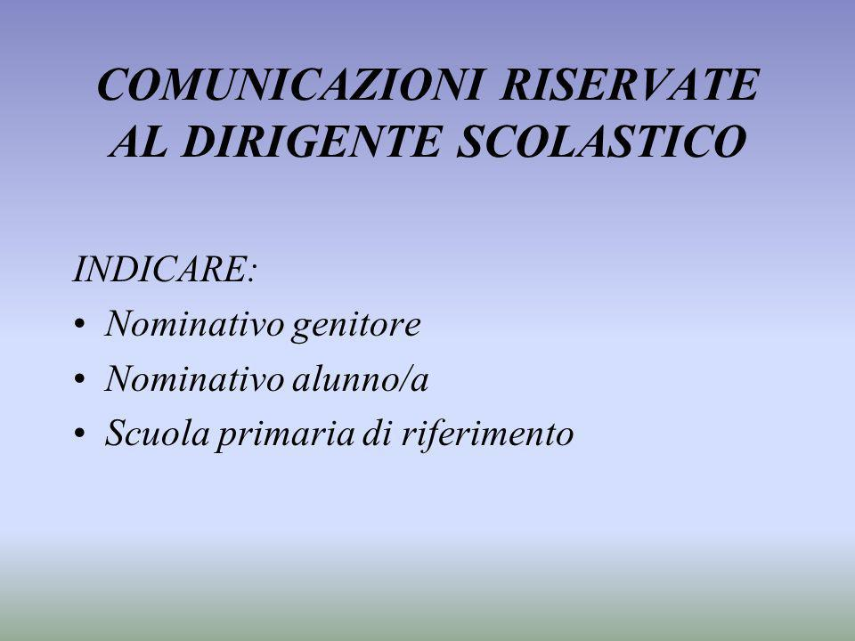 COMUNICAZIONI RISERVATE AL DIRIGENTE SCOLASTICO