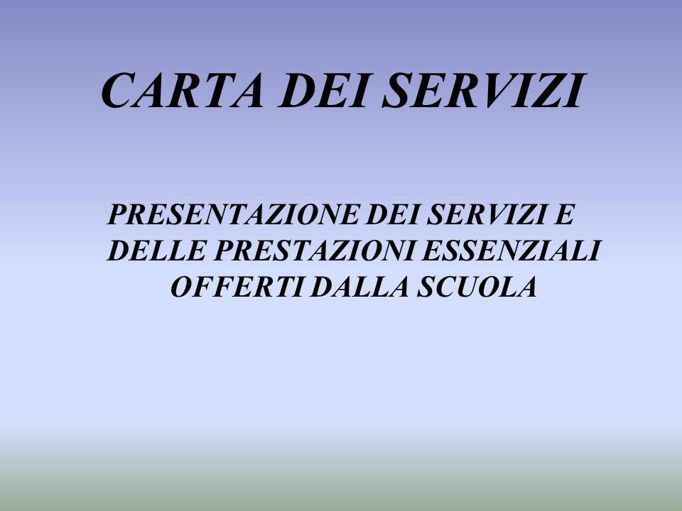 CARTA DEI SERVIZI PRESENTAZIONE DEI SERVIZI E DELLE PRESTAZIONI ESSENZIALI OFFERTI DALLA SCUOLA.
