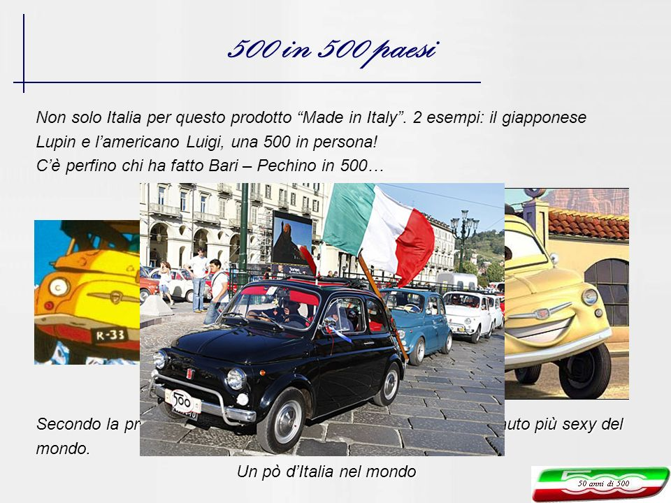 500 in 500 paesi Non solo Italia per questo prodotto Made in Italy . 2 esempi: il giapponese. Lupin e l'americano Luigi, una 500 in persona!
