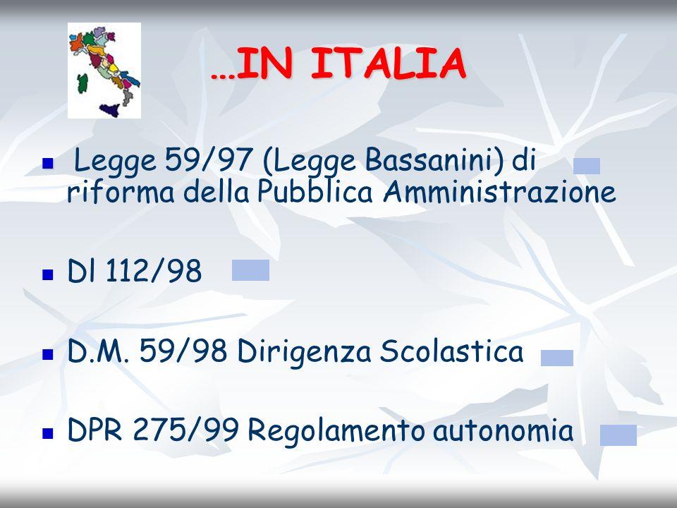 …IN ITALIA Legge 59/97 (Legge Bassanini) di riforma della Pubblica Amministrazione. Dl 112/98. D.M. 59/98 Dirigenza Scolastica.