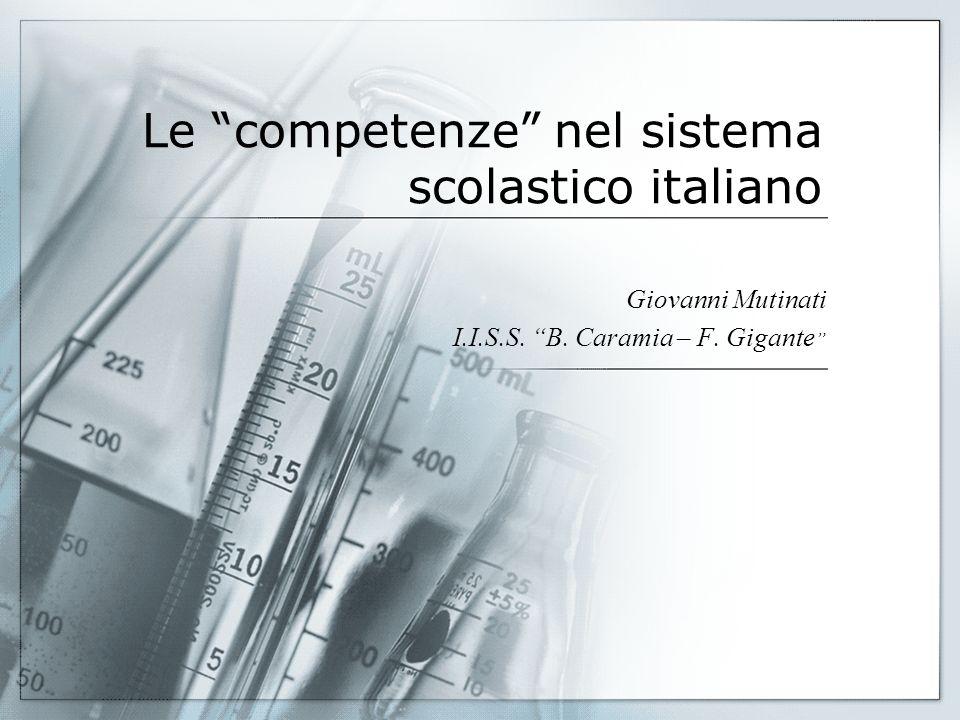Le competenze nel sistema scolastico italiano