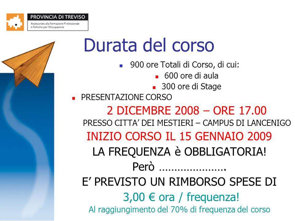 Durata del corso 2 DICEMBRE 2008 – ORE 17.00