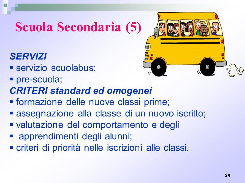 Scuola Secondaria (5) SERVIZI servizio scuolabus; pre-scuola;