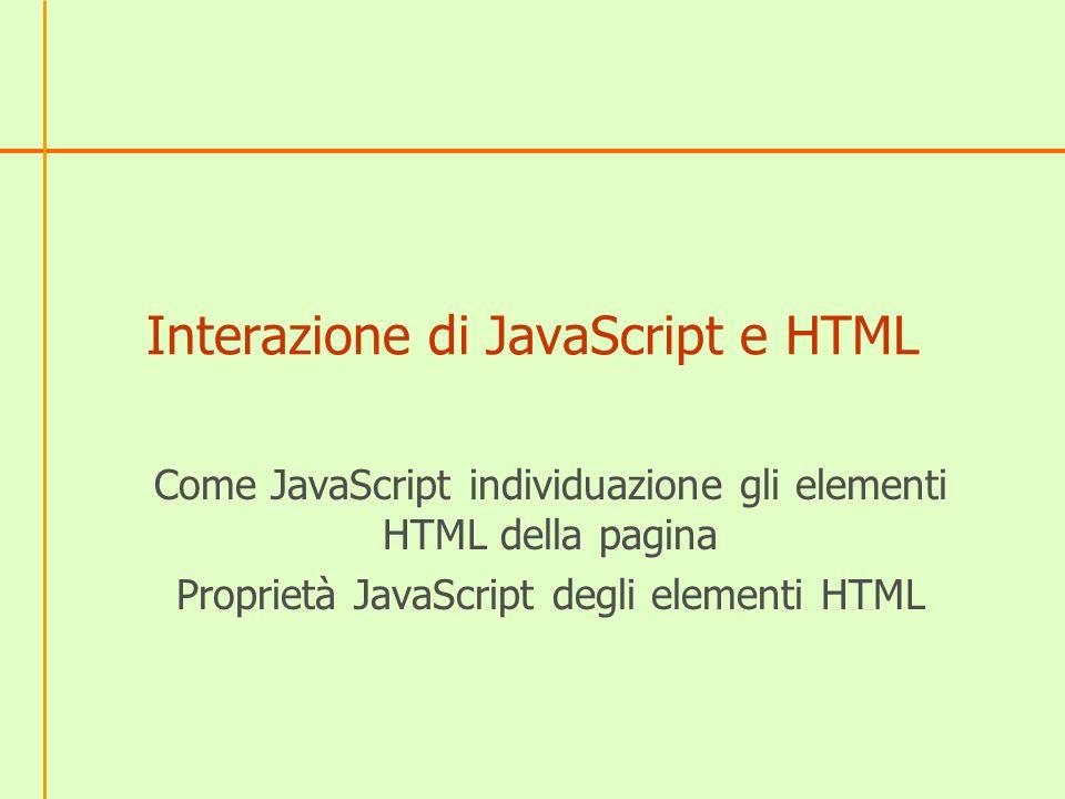 Interazione di JavaScript e HTML