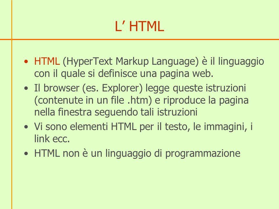 L' HTML HTML (HyperText Markup Language) è il linguaggio con il quale si definisce una pagina web.