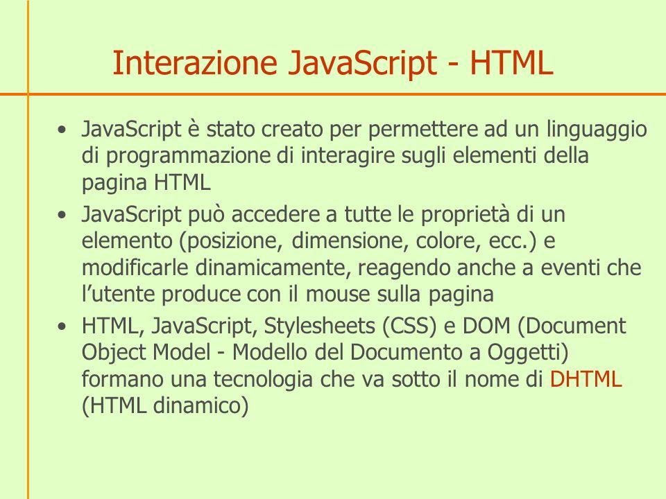 Interazione JavaScript - HTML