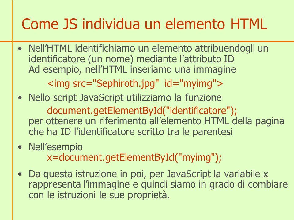 Come JS individua un elemento HTML
