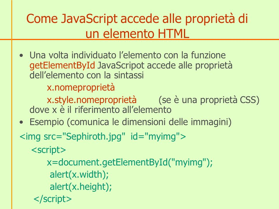 Come JavaScript accede alle proprietà di un elemento HTML