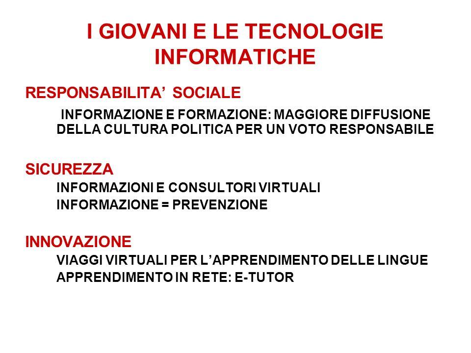 I GIOVANI E LE TECNOLOGIE INFORMATICHE