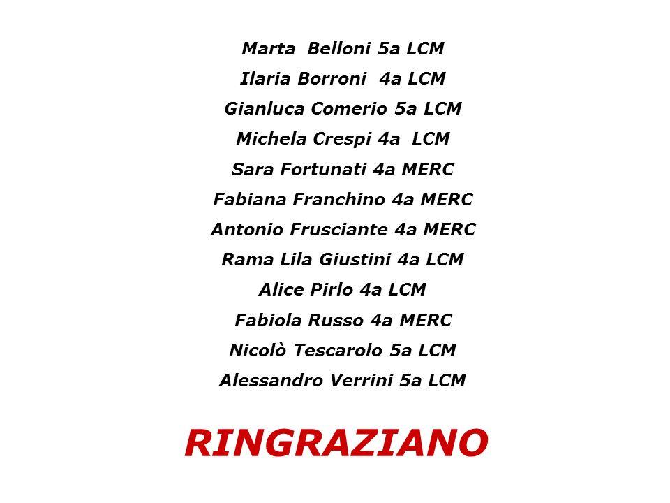 RINGRAZIANO Marta Belloni 5a LCM Ilaria Borroni 4a LCM