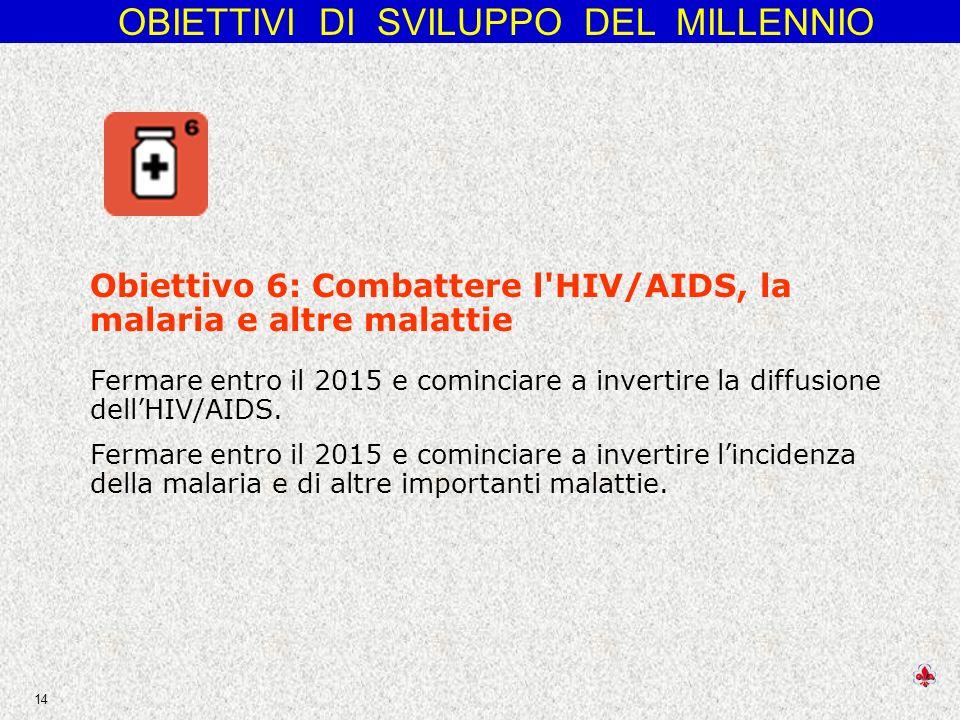 Obiettivo 6: Combattere l HIV/AIDS, la malaria e altre malattie Fermare entro il 2015 e cominciare a invertire la diffusione dell'HIV/AIDS.