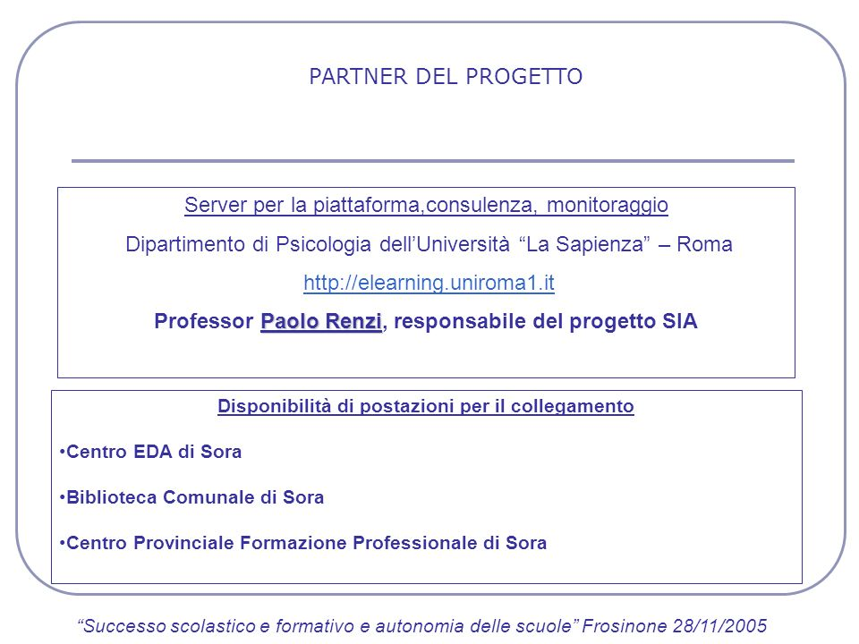 Professor Paolo Renzi, responsabile del progetto SIA