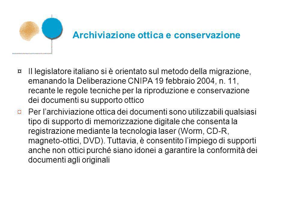 Archiviazione ottica e conservazione