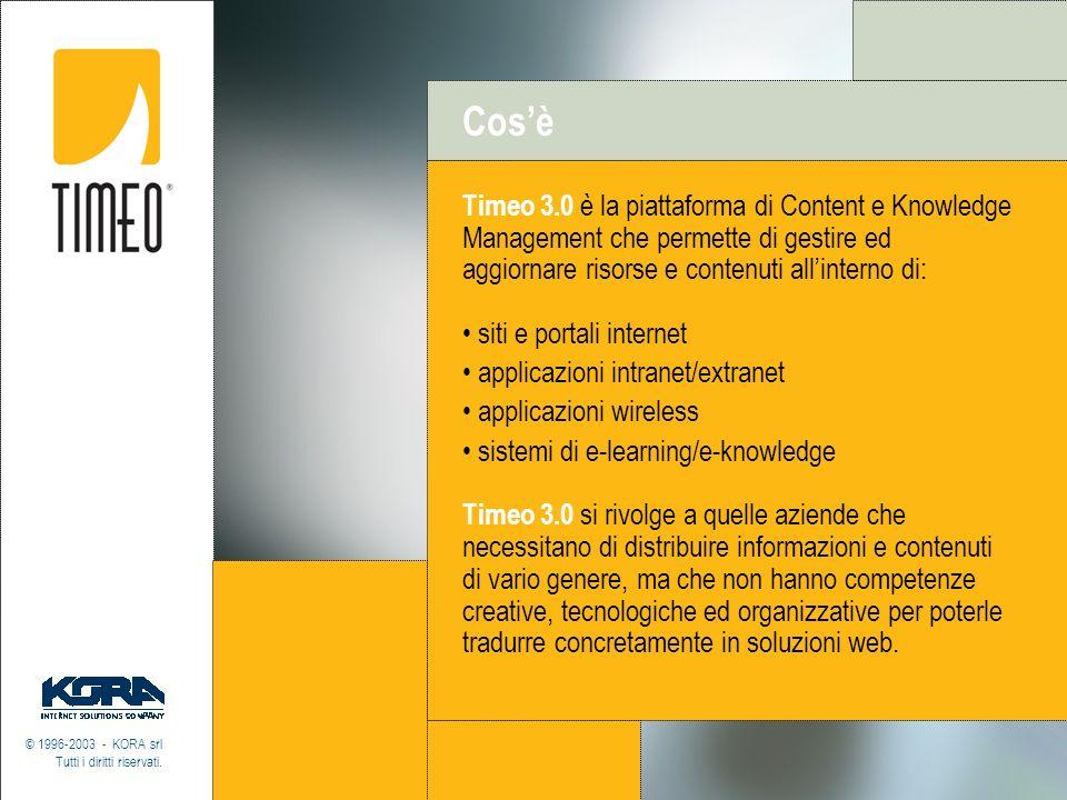 Cos'è Timeo 3.0 è la piattaforma di Content e Knowledge Management che permette di gestire ed aggiornare risorse e contenuti all'interno di:
