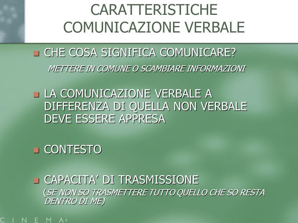 CARATTERISTICHE COMUNICAZIONE VERBALE
