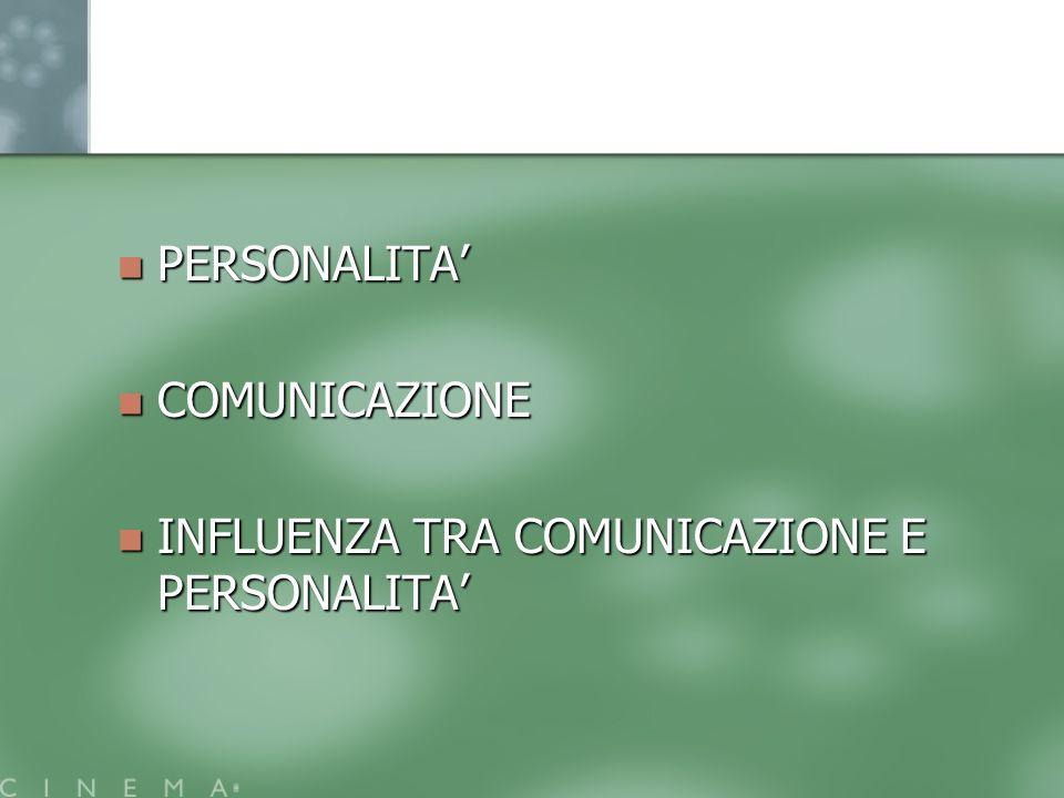 PERSONALITA' COMUNICAZIONE INFLUENZA TRA COMUNICAZIONE E PERSONALITA'