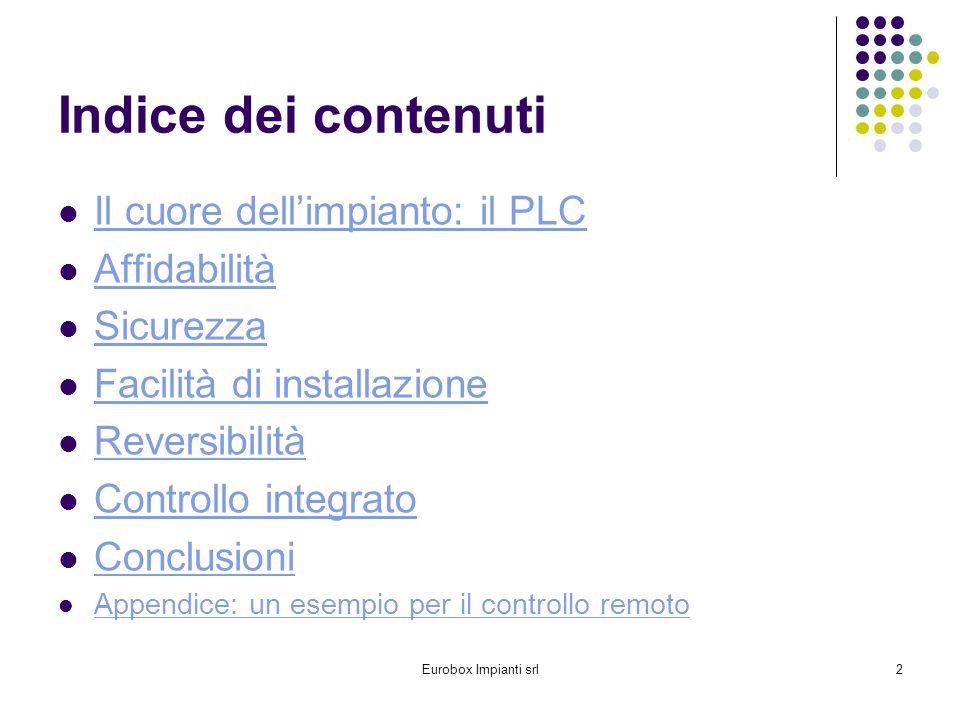 Indice dei contenuti Il cuore dell'impianto: il PLC Affidabilità
