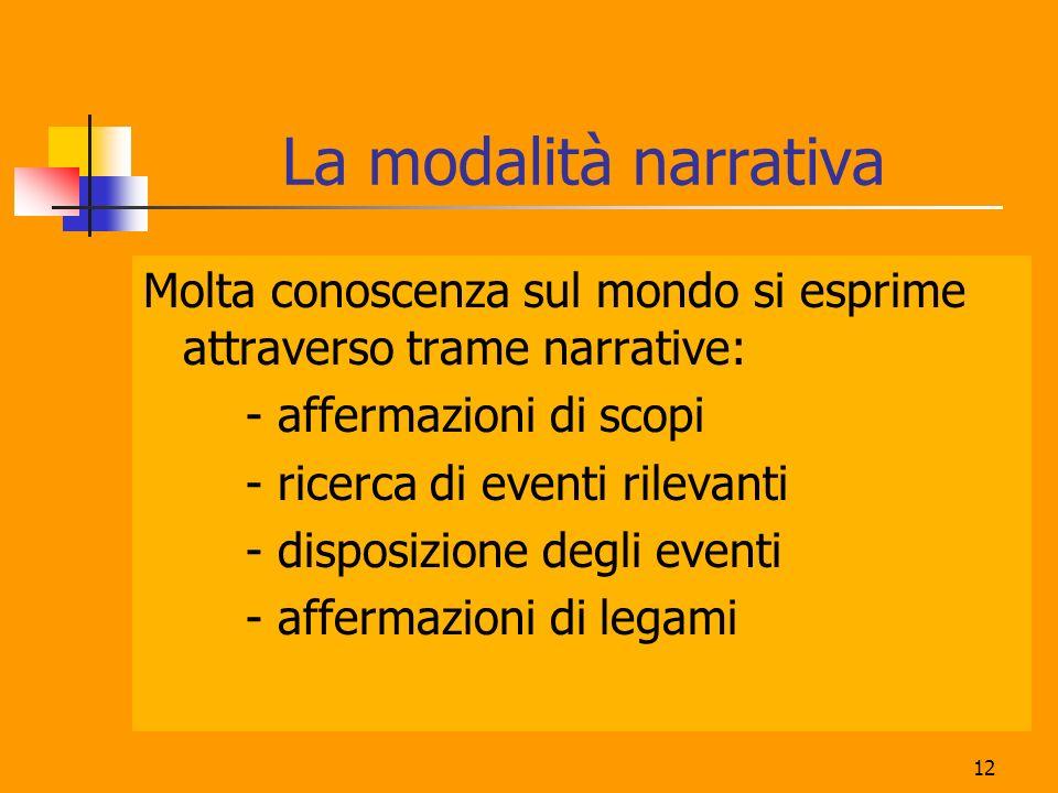 La modalità narrativa Molta conoscenza sul mondo si esprime attraverso trame narrative: - affermazioni di scopi.