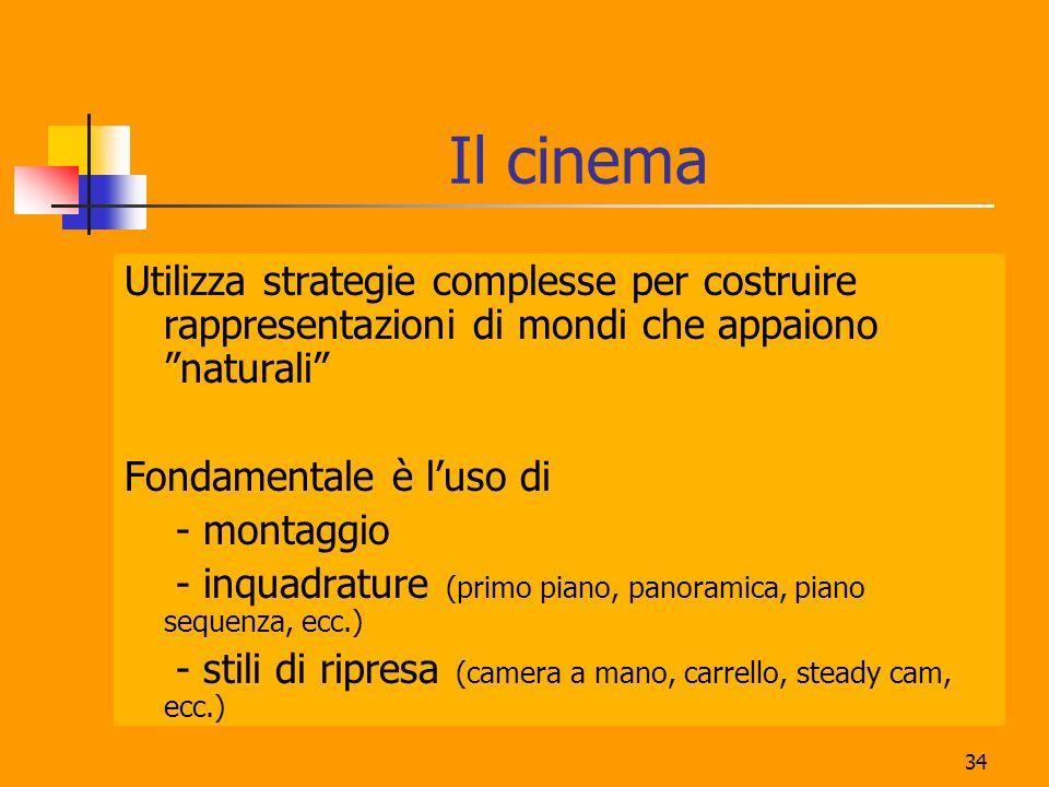 Il cinema Utilizza strategie complesse per costruire rappresentazioni di mondi che appaiono naturali