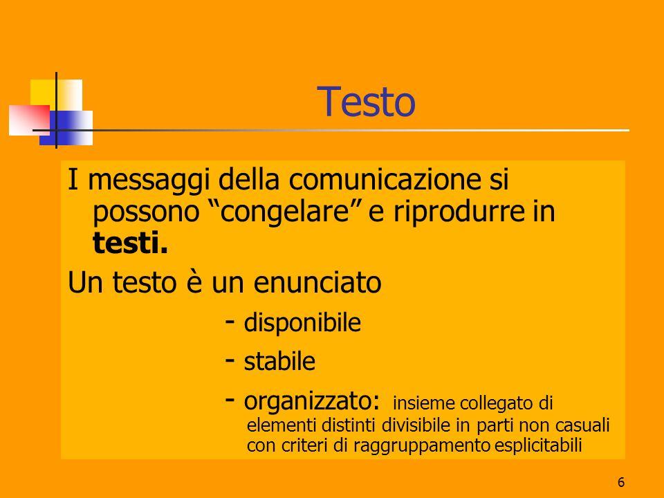 Testo I messaggi della comunicazione si possono congelare e riprodurre in testi. Un testo è un enunciato.