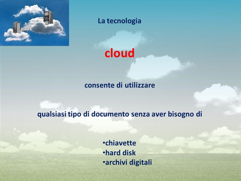 cloud La tecnologia consente di utilizzare