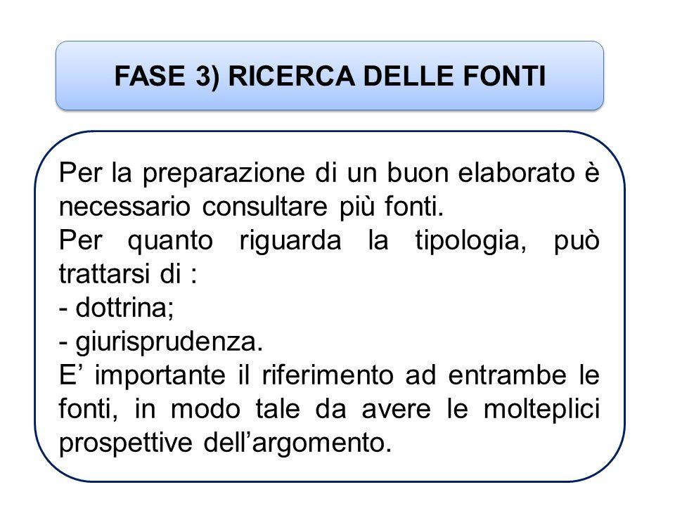FASE 3) RICERCA DELLE FONTI