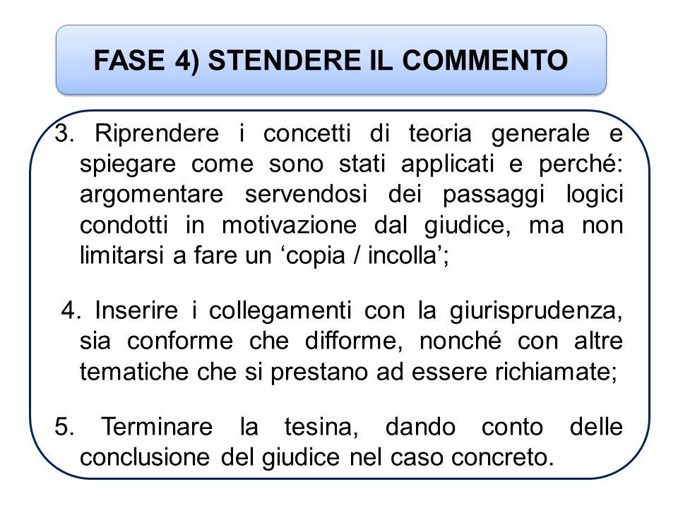FASE 4) STENDERE IL COMMENTO