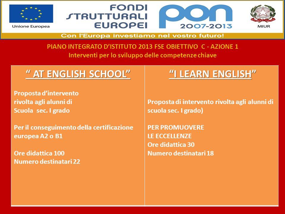 AT ENGLISH SCHOOL I LEARN ENGLISH