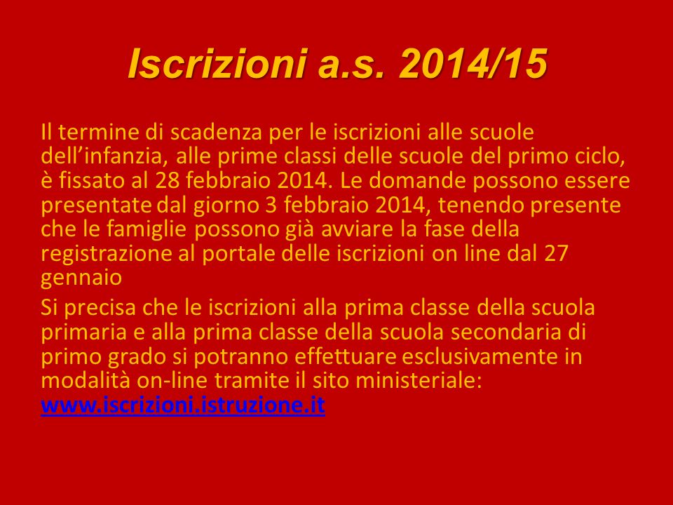 Iscrizioni a.s. 2014/15
