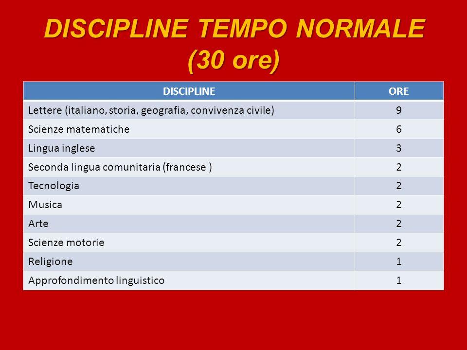 DISCIPLINE TEMPO NORMALE (30 ore)