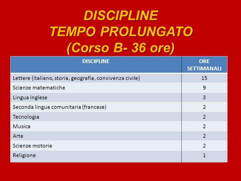DISCIPLINE TEMPO PROLUNGATO (Corso B- 36 ore)
