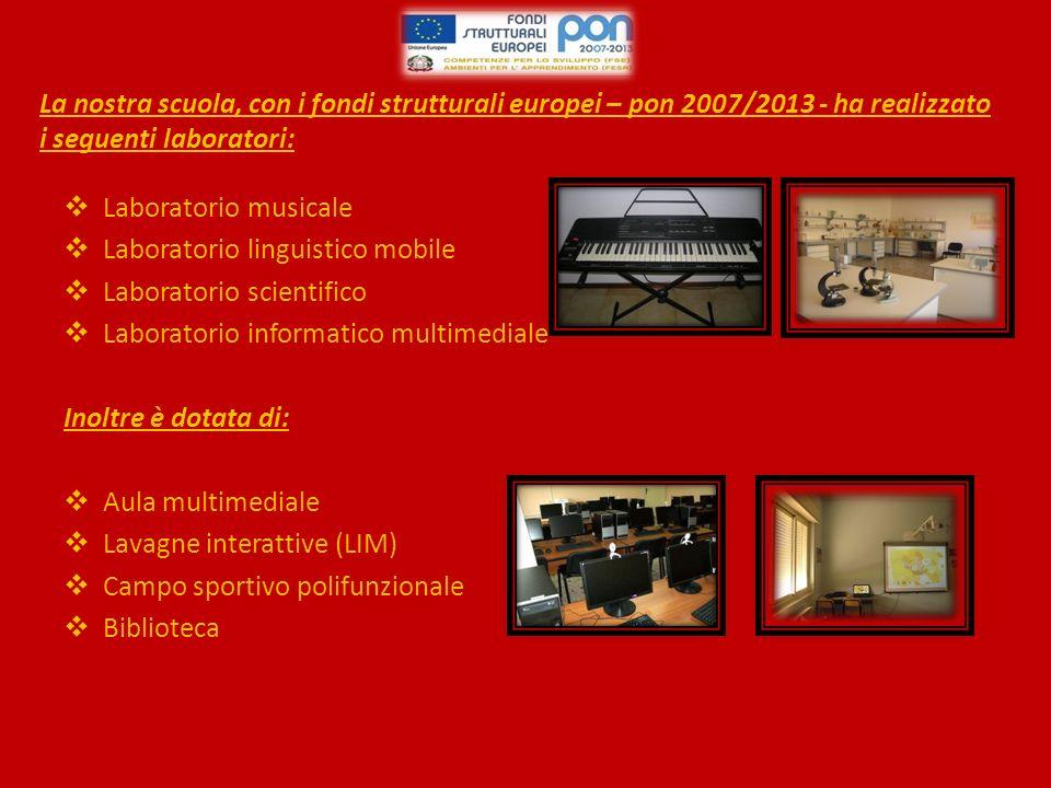 La nostra scuola, con i fondi strutturali europei – pon 2007/2013 - ha realizzato i seguenti laboratori: