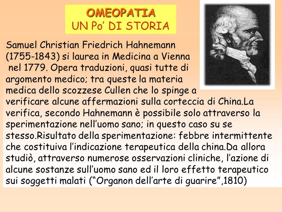 OMEOPATIA UN Po' DI STORIA Samuel Christian Friedrich Hahnemann