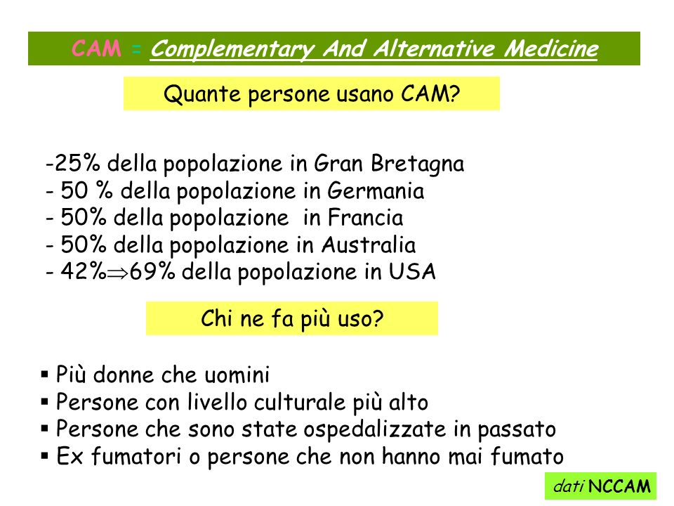 CAM = Complementary And Alternative Medicine