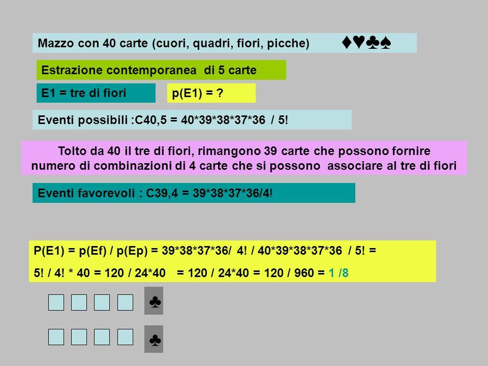 ♦♥♣♠ ♣ ♣ Mazzo con 40 carte (cuori, quadri, fiori, picche)