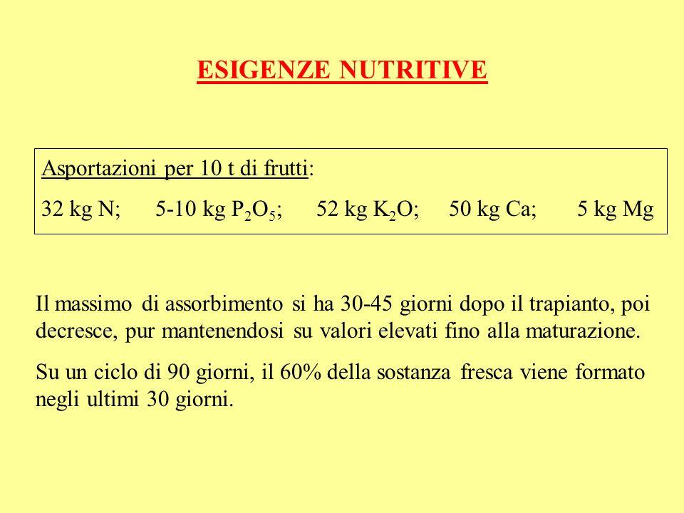 ESIGENZE NUTRITIVE Asportazioni per 10 t di frutti: